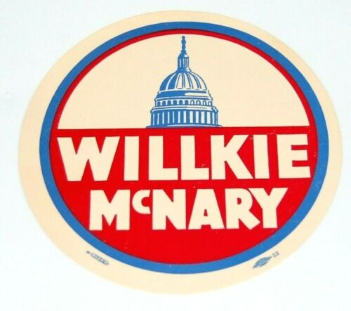 1940 WENDELL WILLKIE CHARLES MCNARY WINDOW DECAL campaign pin pinback button