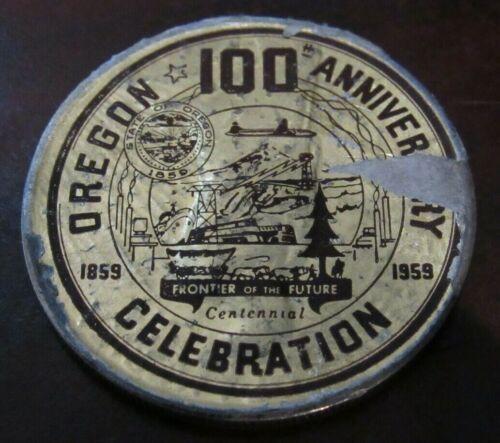 1959 Oregon Centennial Souvenir Sticker Silver 1925 Peace Dollar Coin - OR Ore.