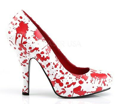 Funtasma White Blood Splatter Zombie Pumps Horror Heels Shoes 7](Blood Splatter Shoes)
