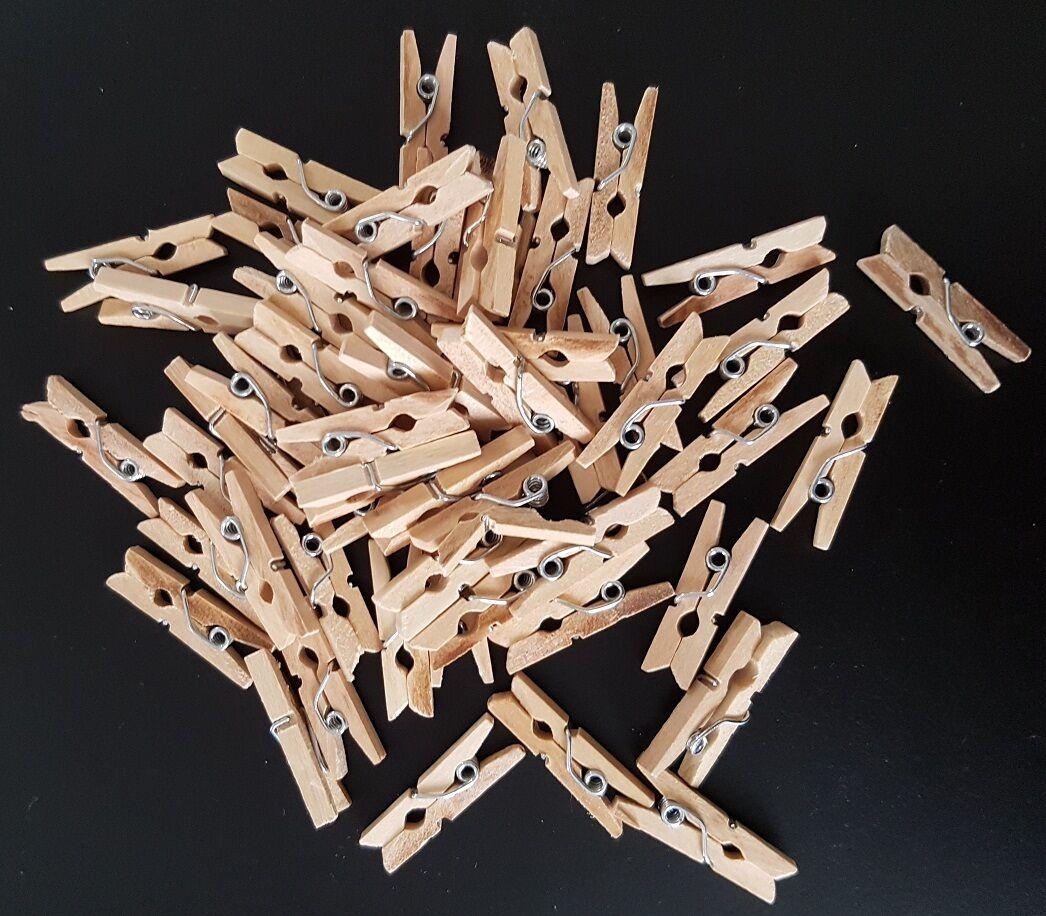 40 Stk. Mini Holz Klammern Clip Wäscheklammern Deko Wäsche Klammer Mini Klammern