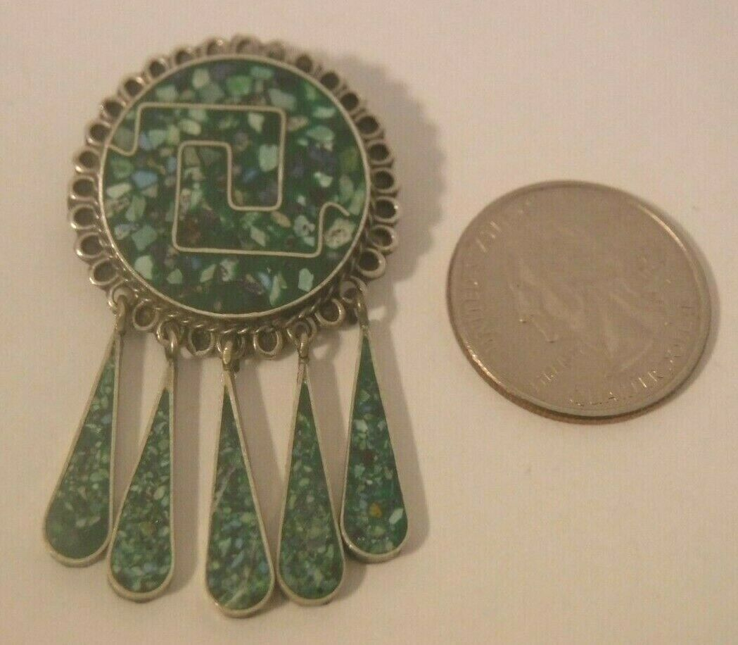 """Vintage TAXCO MEXICO 2"""" Sterling Silver Inlaid Green Stones Dangle Pendant Pin"""