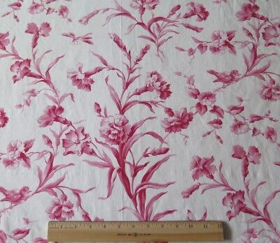"""Antique French Printed Red & White Floral & Bird Toile Fabric c1870-80~2yds7""""L"""