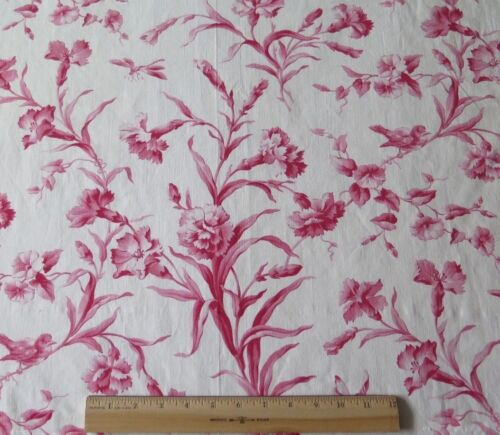 Antique French Printed Red & White Floral & Bird Toile Cotton Fabric c1870-80