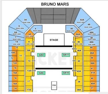 X Bruno Mars Ticket Ga Standing Brisbane Show Sold Out Event