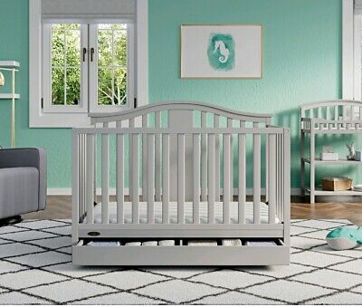Graco Solano 4 in 1 Convertible Crib with Drawer Pebble Gray Elegant Nursery