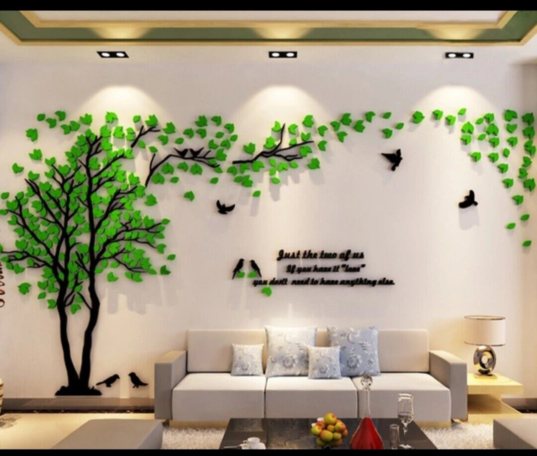 Home Decoration - AU 3D Huge GreenTree Bird Acrylic Wall Decal Sticker Mural Bed Living Home Decor