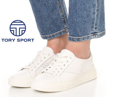 TORY BURCH Tory Sport Chevron Low Top Lace Up SNEAKERS Shoes 10.5 White Leather