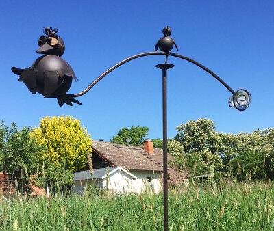 Windspiel Vogel mit Baby Glaskugel Metall Wind Wippe Garten Pendel Gartenstecker
