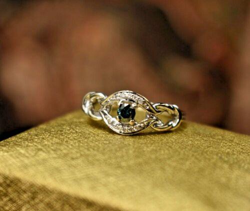 Estate vintage 14K white gold fancy blue diamond ring sz 6.75