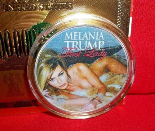Melania Trump Our First Lady Fine Silver Plated Novelty Art-Coin Micro Detailing