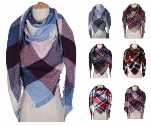 Damen Winter Dreieck Schal Lang Groß Warme Mode Gitter Scarf Schals Wraps