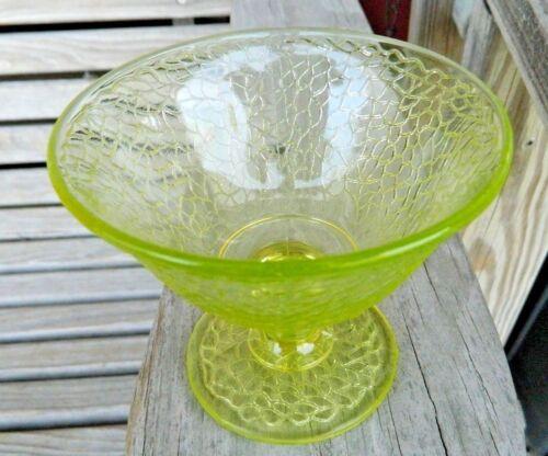 6 GREEN YELLOW VASELINE URANIUM GLASS DEPRESSION CRACKLE SHERBET BOWL DISH CUP
