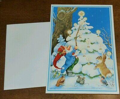 Alton Langford for Hallmark Cards, Christmas Card, Gnome lighting candle on tree ()