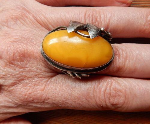 Art Nouveau Butterscotch Egg Yolk Amber Sterling Silver Ring