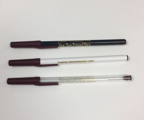 Custom Personalized Stick Pens with Burgundy Trim (60) Great Promotional Tool