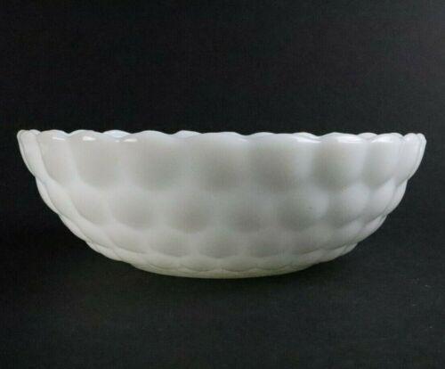 "Anchor hocking Bubble Pattern Milk Glass Bowl 8 1/4 "" Diameter"