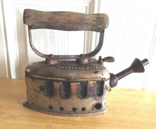 ANTIQUE CLEFTON CO GAS IRON FROM OWATONNA MINN CIRCA 1905 VERY RARE AS IS