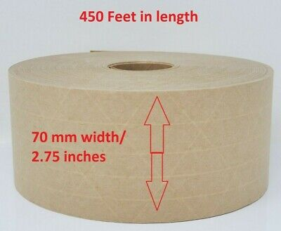 70m Gummed Kraft Paper Sealing Tape 3-way Reinforced Water Activated - 450 Feet