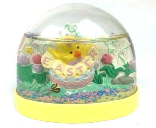 Vintage Easter Collectible Snow Globe Chicks Egg Tulips Pink Blue Snow