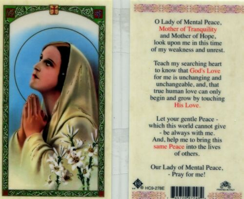 O Lady of Mental Peace Prayer Card Mother of Tranquility and Hope Look Upon Me