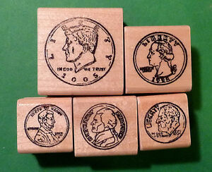 Coin-Set-Fronts-Set-of-5-mounted-rubber-stamps
