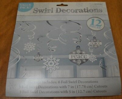 Amscan NIP Snowflake and Peace Swirl Decorations 12 Piece Silver (Peace Decorations)