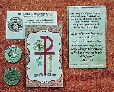 Godchild Gift - GODCHILD GIFT SET-PEWTER POCKET TOKEN & LAMINATED PRAYER CARD (PINK FOR GIRLS)