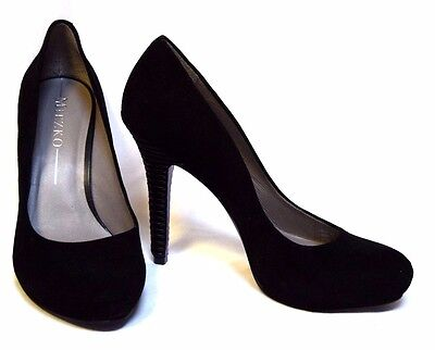 MIEZKO Leather Heels sz 8.5 (39/40) Black Kid Suede platform stiletto shoes BNIB
