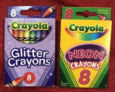 Crayola Neon & Glitter Non-Toxic Crayons, Assorted Colors, 2 Packs of 8 - Non Toxic Crayons