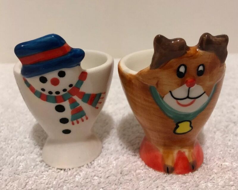 Lot of 2 ceramic Egg cup Holders snowman and reindeer