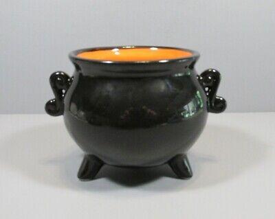 "Newclassic Enterprise Black and Orange Ceramic ""Cauldron"" Halloween Candy Dish"