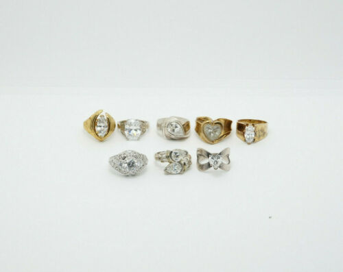 LOT of 8 Sterling Silver Gold Overlay CZ Engagement Wedding Style Rings, 59.6g