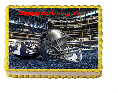 The Dallas Cowboys Party Birthday Edible Cake Topper 1/4 sheet Personalize - Dallas Cowboys Birthday Cake
