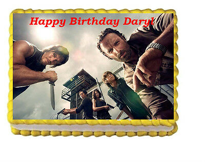 The Walking Dead Rick Daryl Birthday Party Edible Cake Topper Image Zombie  - Walking Dead Cakes