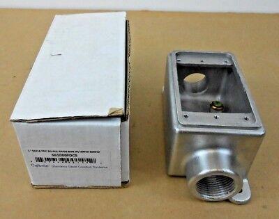 1 NIB CALBRITE S61000FDCS SS WEATHERPROOF ELECTRICAL BOX 1-GANG 2-INLET
