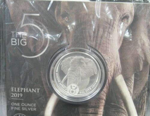 2019 1 oz South Africa Silver Big Five Elephant Coin (BU) unopened Lot#1549