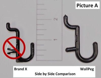 100 Black J Peg Hooks - Lock To Pegboard - Tool Storage - Garage Wall Organizer