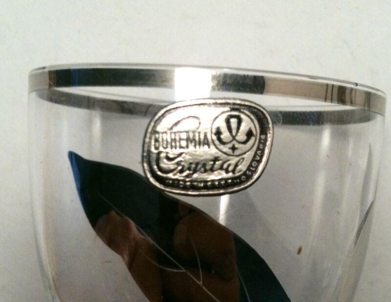1970's Bohemia Crystal 25th Wedding Anniversary Silver Decanter Set W/ 6 Glasses