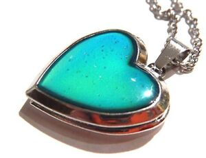 GLITTER HEART MOOD LOCKET silver color change changing pendant necklace 90s 1W