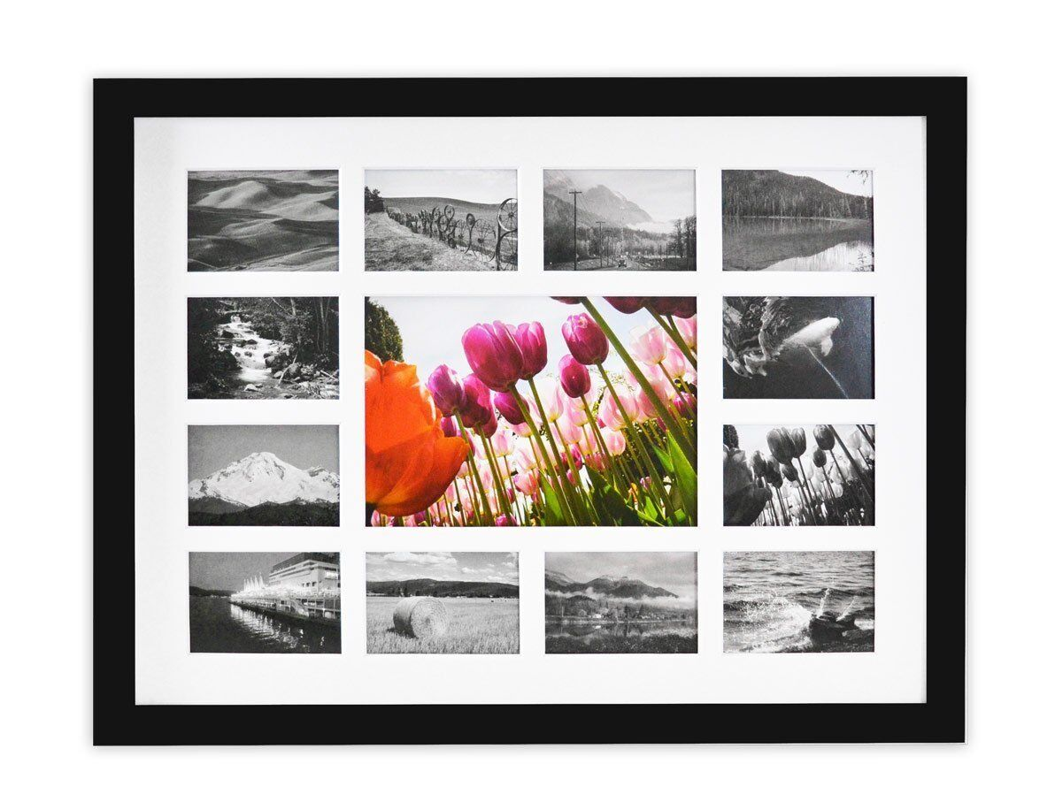13-Opening 12x16 Collage Photo Wood Frame with White Mat & R