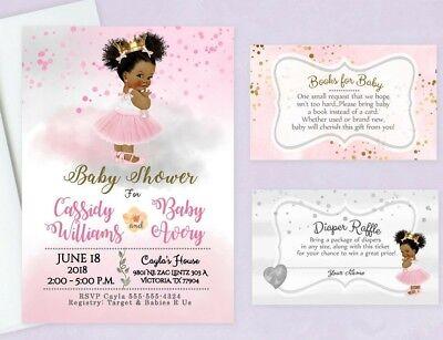 Baby Shower Invitations Books - Baby Shower Invitations Girl Princess Tutu Diaper Raffle Book Cards Insert Qty20