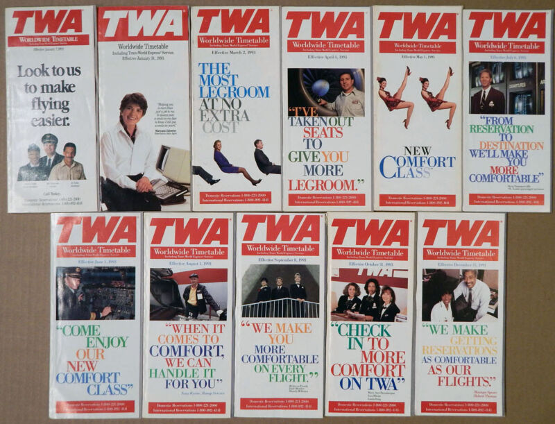 TWA Trans World Airlines timetable lot every issue 1993 good condition [0097]