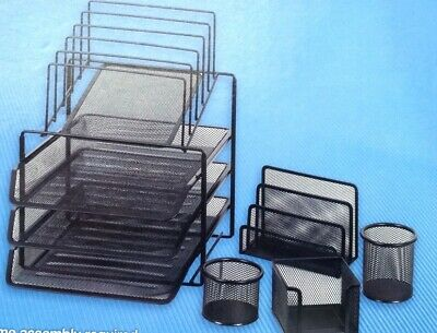 Staples Mesh Desk Office Organizer Set Holder Storage Drawer Metal Black Ch1022