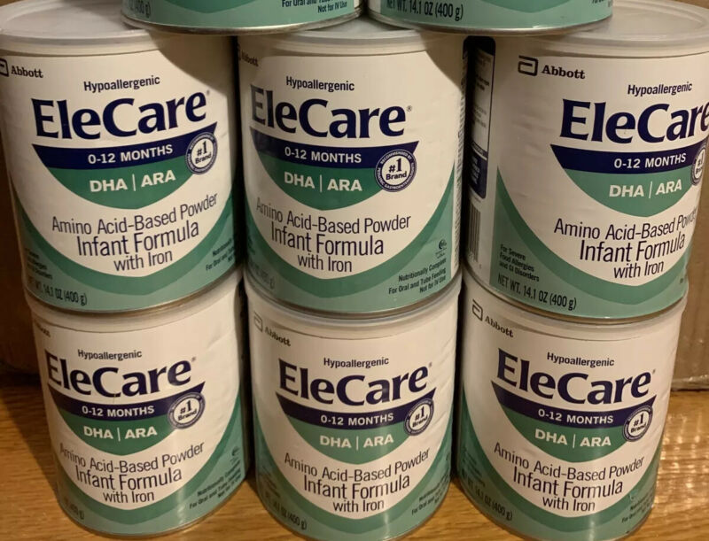 Elecare Infant DHA ARA W/ Iron 14.1 OZ 6 Cans / 1 Case Exp 01/2022