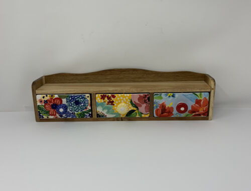 Pioneer Woman Floral Medley Wood Spice Shelf With 3 Ceramic Drawers 16  - $24.99