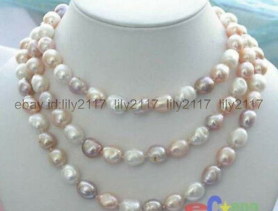 """beautiful 8-9mm baroque white+Pink+Purple freshwater pearl necklace 46"""" AAA ()"""