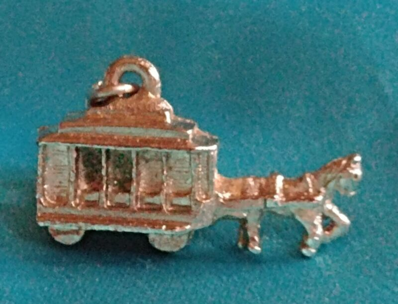 Horse Drawn Buggy Carriage Trolley Bus Cart Charm Pewter? Pendant Necklace