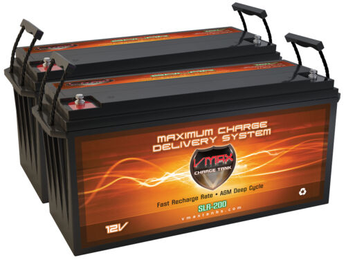 Qty (2) SLR200 Solar Wind Power Backup 400AH AT 12V deep cycle VMAX AGM Battery