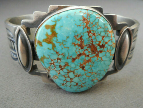 Native American Lone Mountain Turquoise Sterling Silver Stamped Cuff Bracelet