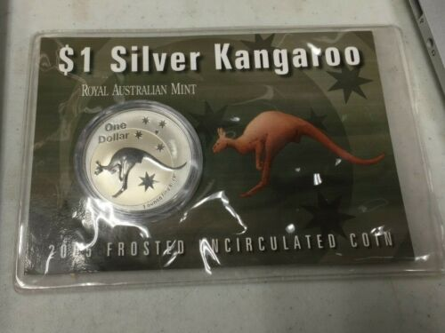 2005 FROSTED UNCIRCULATED $1 SILVER KANGAROO COIN